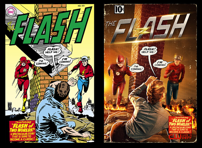 "The Flash ""Flash of Two Worlds"" -- Image FLA202_FIRSTLOOK -- Pictured: Original DC Comic ""Flash of Two Worlds"" and at right (L-R): Grant Gustin as The Flash and Teddy Sears as Jay Garrick-- Credit: DC Comics and Cate Cameron/The CW -- © 2015 The CW Network, LLC. All Rights Reserved."