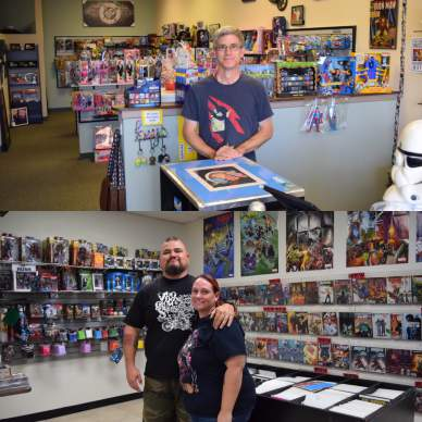 Top- Robert Lamphere from QBC Toys and More Bottom- Henry and Cathy Henrich from Comic Cult HD
